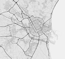 Valencia, Spain Map. (Black on white) by Graphical-Maps
