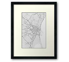 Valencia, Spain Map. (Black on white) Framed Print
