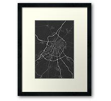 Valladoid, Spain Map. (White on black) Framed Print