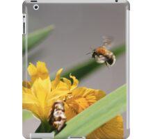 Bumble bee landing on yellow flag iris iPad Case/Skin