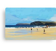 Harlyn Bay, Cornwall, Original Illustration  Canvas Print