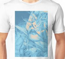 Burning flame illustration, abstract drawing of female portrait with hair in the wind. Unisex T-Shirt
