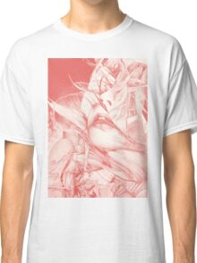 Burning flame illustration, abstract drawing of female portrait with hair in the wind. Classic T-Shirt