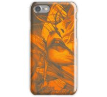 Burning flame illustration, abstract drawing of female portrait with hair in the wind. iPhone Case/Skin