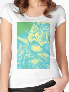 Burning flame illustration, abstract drawing of female portrait with hair in the wind. Women's Fitted Scoop T-Shirt
