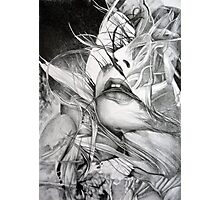 Burning flame illustration, abstract drawing of female portrait with hair in the wind. Photographic Print