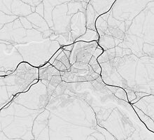 Bern, Switzerland Map. (Black on white) by Graphical-Maps