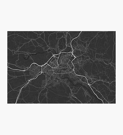 Bern, Switzerland Map. (White on black) Photographic Print