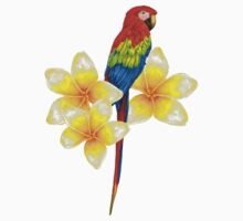 parrot sitting on a branch with tropical flowers One Piece - Short Sleeve