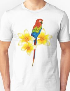 parrot sitting on a branch with tropical flowers Unisex T-Shirt