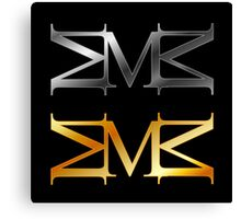 Alphabet M logo in gold and silver  Canvas Print