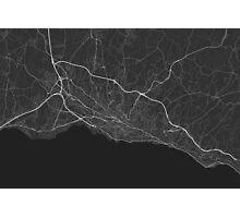 Lausanne, Switzerland Map. (White on black) Photographic Print