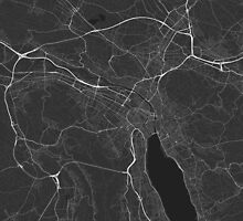 Zurich, Switzerland Map. (White on black) by Graphical-Maps
