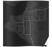 Anchorage, USA Map. (White on black) Poster