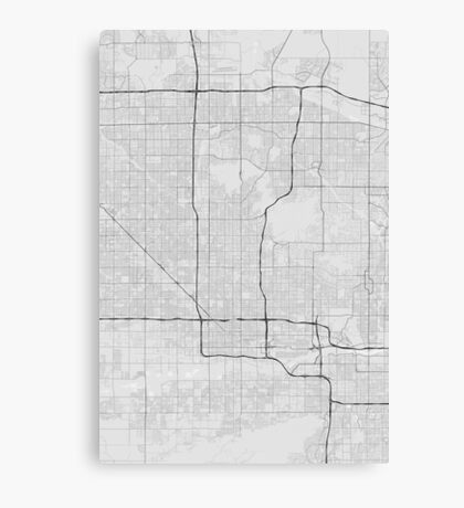Phoenix, USA Map. (Black on white) Canvas Print