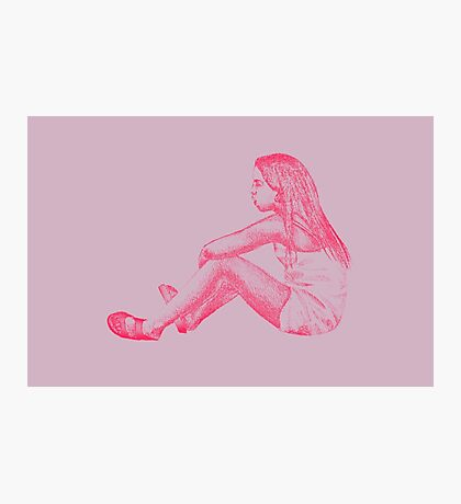 Drawing of child girl sitting and listening. Photographic Print