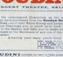 Performing Arts Posters Challenge to Houdini Regent Theatre Salford 1605 Sticker