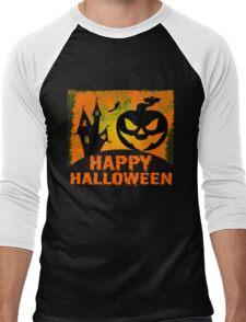 Happy Halloween Jack o'Lantern Pumpkin  Men's Baseball ¾ T-Shirt
