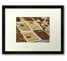 Nuts, Pistachio, Almonds And Peanuts For Sale In Fruit Market Framed Print