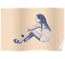 Drawing of child girl sitting and listening. Poster