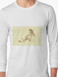 Drawing of child girl sitting and listening. Long Sleeve T-Shirt