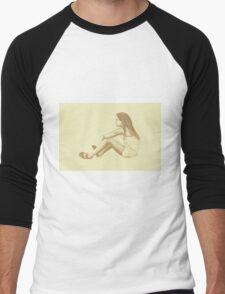 Drawing of child girl sitting and listening. Men's Baseball ¾ T-Shirt