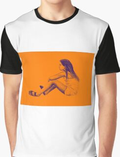 Drawing of child girl sitting and listening. Graphic T-Shirt