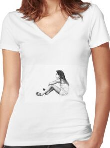 Drawing of child girl sitting and listening. Women's Fitted V-Neck T-Shirt