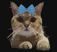Cute Cat with Blue Ribbon Baby Tee