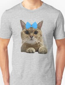 Cute Cat with Blue Ribbon Unisex T-Shirt