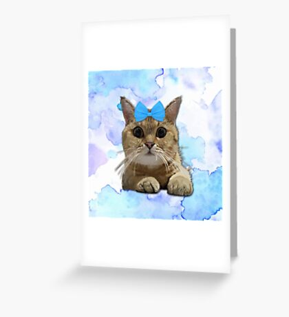Cute Cat with Blue Ribbon Greeting Card