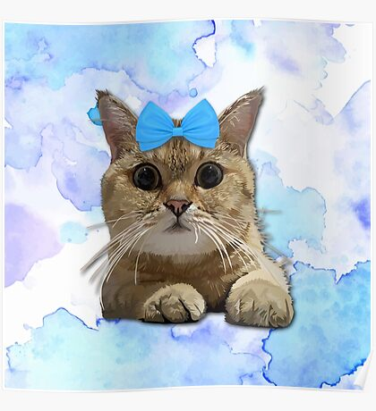 Cute Cat with Blue Ribbon Poster