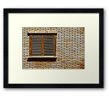Simple House Window On Red Brick Wall Framed Print