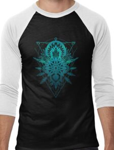 Geometric Triangle Mandala Ornament Lotus Flower (Blue Shades Va Men's Baseball ¾ T-Shirt