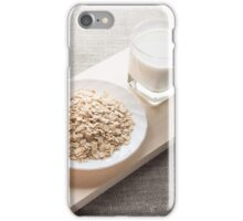 Plate with dry cereal and a glass of milk iPhone Case/Skin