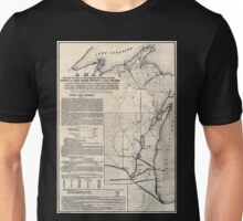 0062 Railroad Maps A map showing the route of the proposed rail road from the Copper and Iron Mining District of Lake Superior to connect with rail roads built or being Unisex T-Shirt