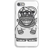 frau weibchen girl mädchen nerd geek schlau hornbrille freak dumm zahnspange lustiges süßes  dickes comic cartoon nilpferd fett hippo  iPhone Case/Skin
