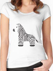 Cartoon Zebra Women's Fitted Scoop T-Shirt
