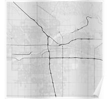 Bakersfield, USA Map. (Black on white) Poster