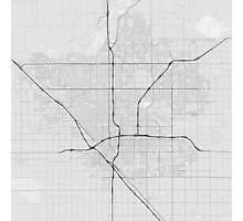 Fresno, USA Map. (Black on white) Photographic Print