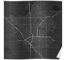 Fresno, USA Map. (White on black) Poster