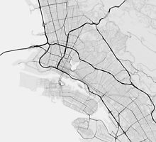 Oakland, USA Map. (Black on white) by Graphical-Maps