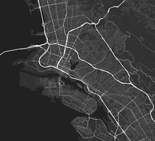 Oakland, USA Map. (White on black) by Graphical-Maps