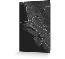 Oakland, USA Map. (White on black) Greeting Card