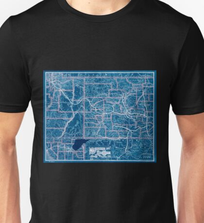 0253 Railroad Maps Denver and Rio Grande Railway System Inverted Unisex T-Shirt