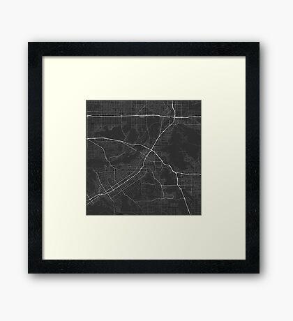 Riverside, USA Map. (White on black) Framed Print
