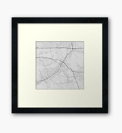 Riverside, USA Map. (Black on white) Framed Print