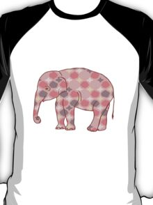 Pink, Gray and Yellow Patterned Elephant Silhouette T-Shirt