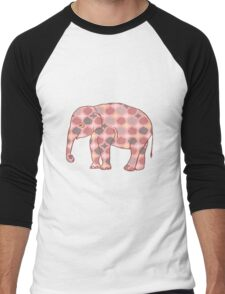 Pink, Gray and Yellow Patterned Elephant Silhouette Men's Baseball ¾ T-Shirt