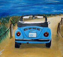 Blue VW bug at beach by artshop77